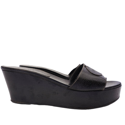 PRADA BLACK LEATHER PLATFORM WEDGE SANDAL - leefluxury.com