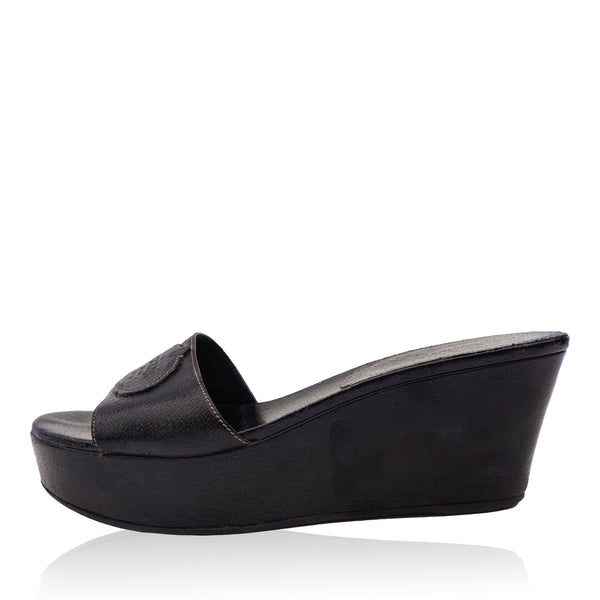 PRADA BLACK LEATHER PLATFORM WEDGE SANDAL