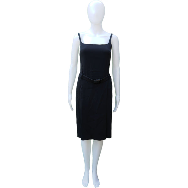PRADA STRAPPY BLACK BELTED COCKTAIL KNEE LENGTH DRESS