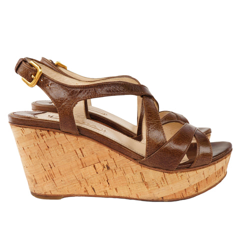PRADA BROWN LEATHER WEDGE SANDALS - leefluxury.com