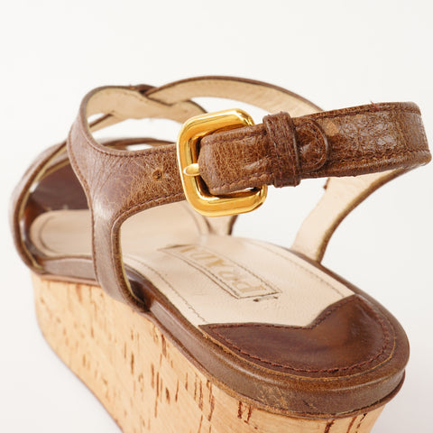 PRADA BROWN LEATHER WEDGE SANDALS