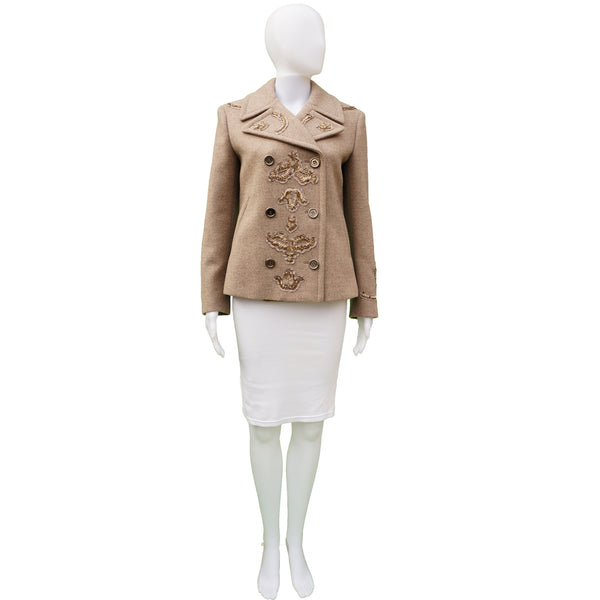 PRADA RUNWAY SEQUIEN EMBELLISHED WOOL PEACOAT