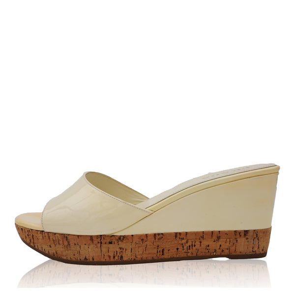 PRADA IVORY PATENT LEATHER PLATFORM WEDGE SANDAL