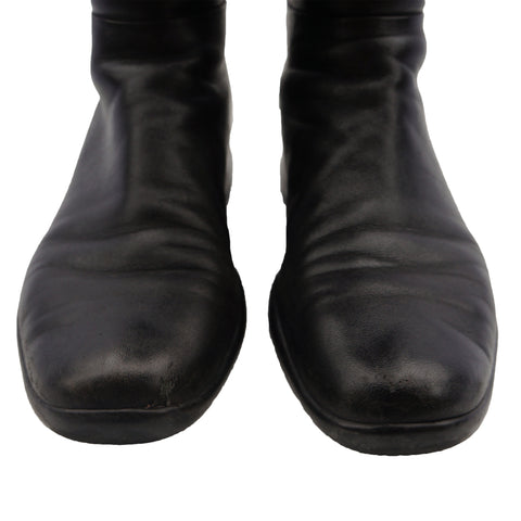 PRADA SPORT BLACK LEATHER BOOTS - leefluxury.com