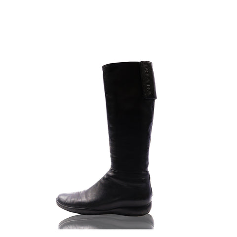 PRADA SPORT BLACK LEATHER BOOTS Shop online the best value on authentic designer used preowned consignment on Leef Luxury.