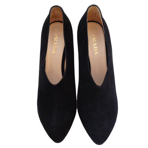 PRADA SUEDE ROUNDED POINTED-TOE BOOT PUMPS - leefluxury.com