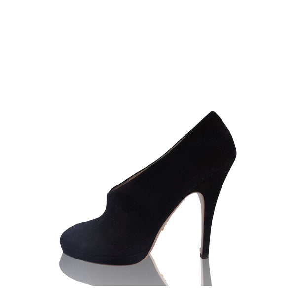 PRADA SUEDE ROUNDED POINTED-TOE BOOT PUMPS
