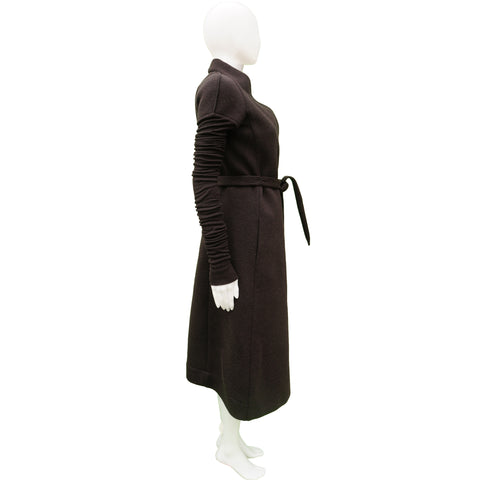 RICK OWENS LILIES BROWN LONG DUSTER COAT - leefluxury.com