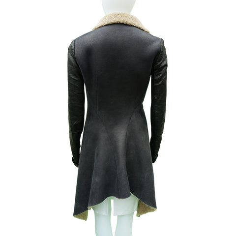 RICK OWENS ASYMMETRICAL SHEARLING JACKET  Shop online the best value on authentic designer used preowned consignment on Leef Luxury.
