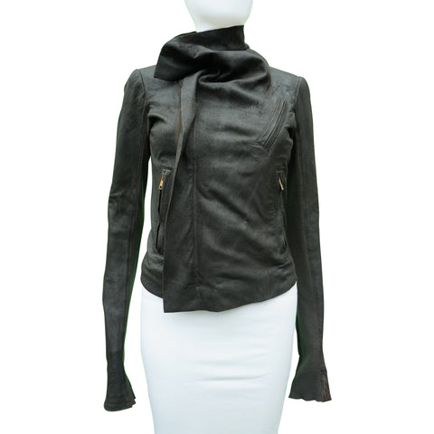 RICK OWENS DISTRESSED LEATHER JACKET - leefluxury.com