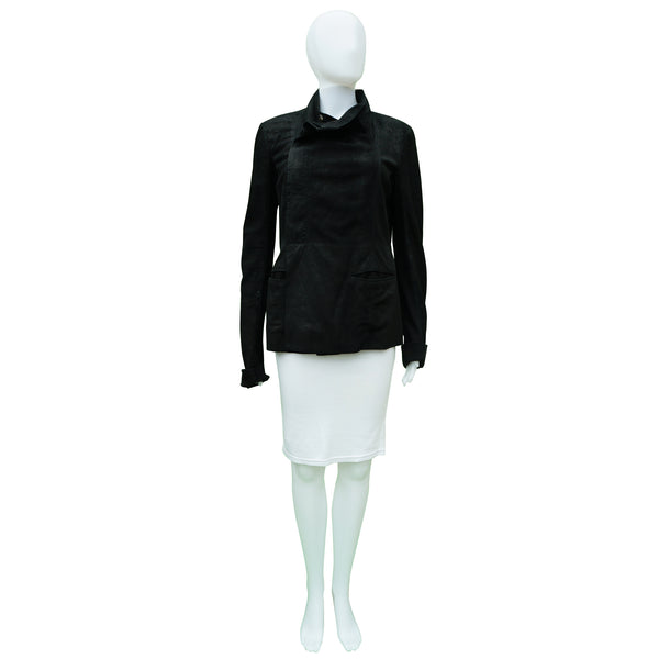 RICK OWENS SUEDE LEATHER RIB KNITJACKET