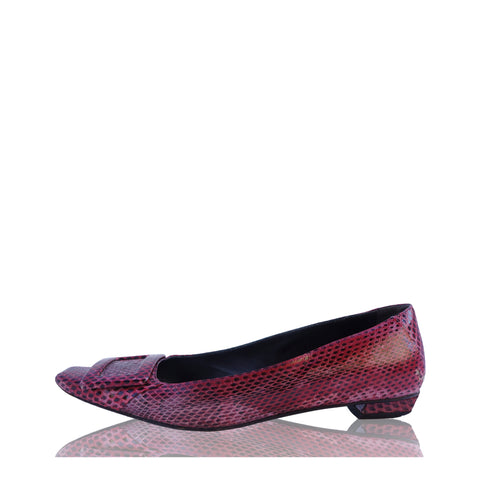 ROGER VIVIER SNAKESKIN BUCKLE FLATS Shop online the best value on authentic designer used preowned consignment on Leef Luxury.