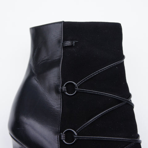 SAINT LAURENT BLACK SUEDE LEATHER LACE ANKLE BOOT - leefluxury.com