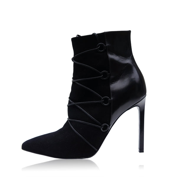 SAINT LAURENT BLACK SUEDE LEATHER LACE ANKLE BOOT