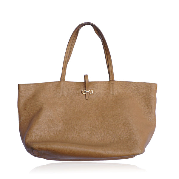 SALVATORE FERRAGAMO LEATHER SHOPPING TRAVEL TOTE BAG