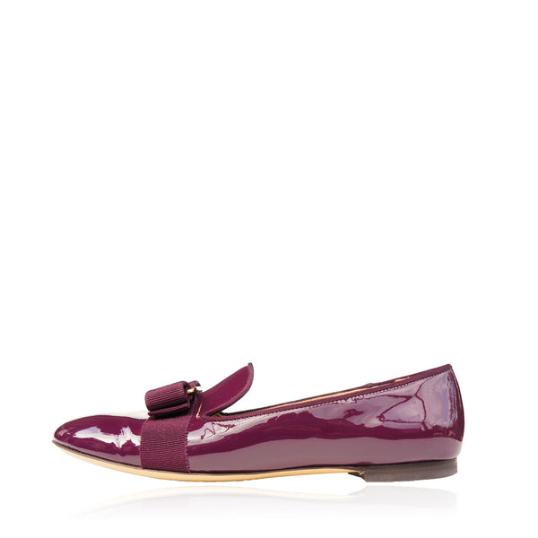 SALVATORE FERRAGAMO WINE PATENT LEATHER VERA BOW PATENT LEATHER BALLET FLATS