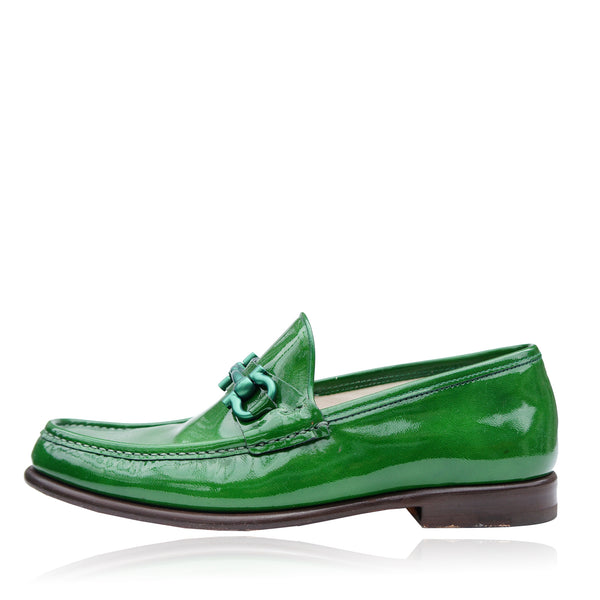 SALVATORE FERRAGAMO GREEN PATENT MASON NG LOAFER
