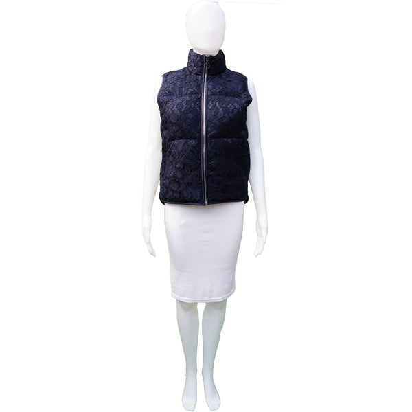 SANDRO GUIPURE LACE PUFFER VEST
