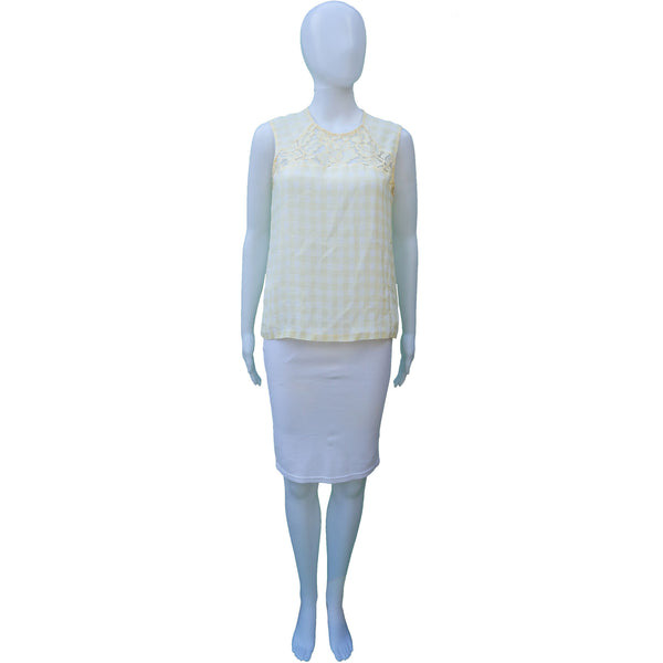 SANDRO YELLOW CHECK LACE SLEEVELESS TOP