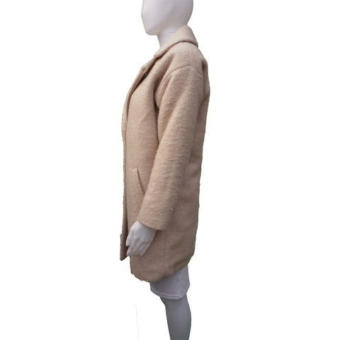 MAISON SCOTCH WOOL TAN WINTER COAT - leefluxury.com