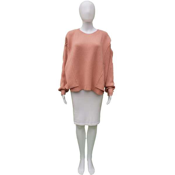STELLA MCCARTNEY 2017 VIRGIN WOOL DUSTY ROSE OVERSIZED KNIT SWEATER