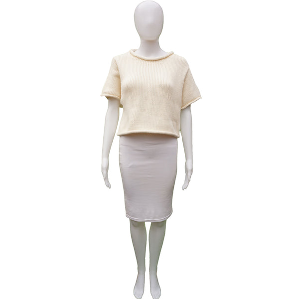 T BY ALEXANDER WANG IVORY CROPPED SWEATER TOP