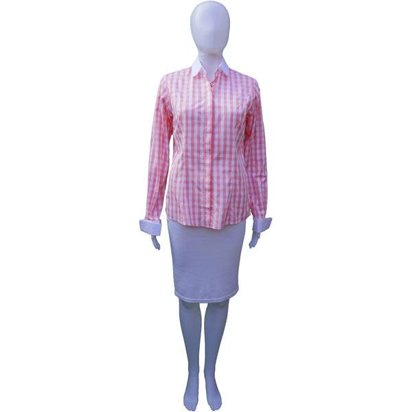 TM LEWIN PINK LARGE CHECK BUTTON DOWN TOP