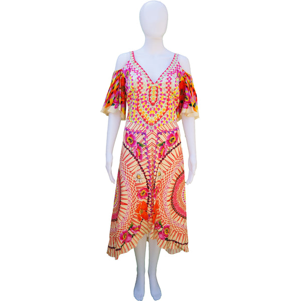 TEMPERLEY LONDON  FLORAL & GEOMETRIC PRINT DRESS