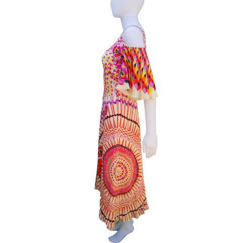TEMPERLEY LONDON  FLORAL & GEOMETRIC PRINT DRESS - leefluxury.com