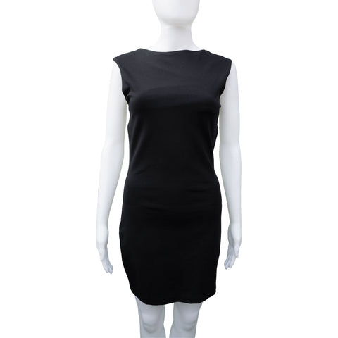 THE ROW BLACK SLEEVELESS MINI DRESS - leefluxury.com