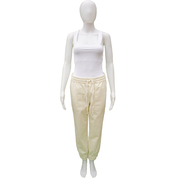 THEORY CORTLANDT RELAXED CREAM CHINO JOGGER PANT