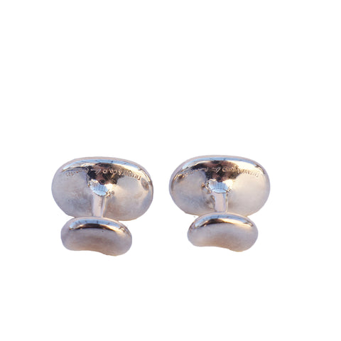 TIFFANY & CO ELSA PERETTI BEAN STERLING SILVER CUFFLINKS - leefluxury.com