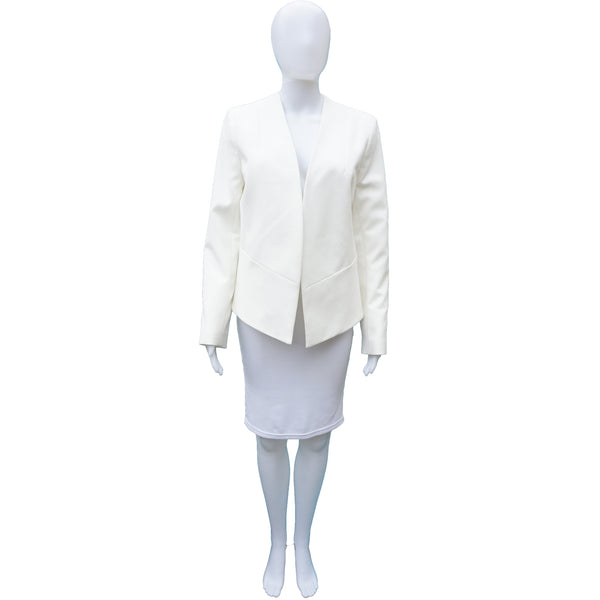 TOPSHOP IVORY OPEN FRONT HIGH LOW JACKET