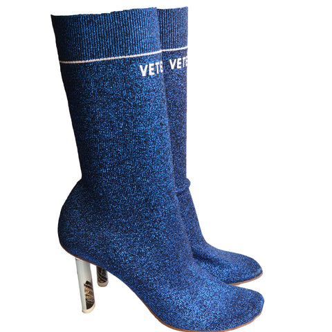 VETEMENTS BLUE LUREX EIFFEL TOWER LIGHTER SOCK BOOT Shop online the best value on authentic designer used preowned consignment on Leef Luxury.