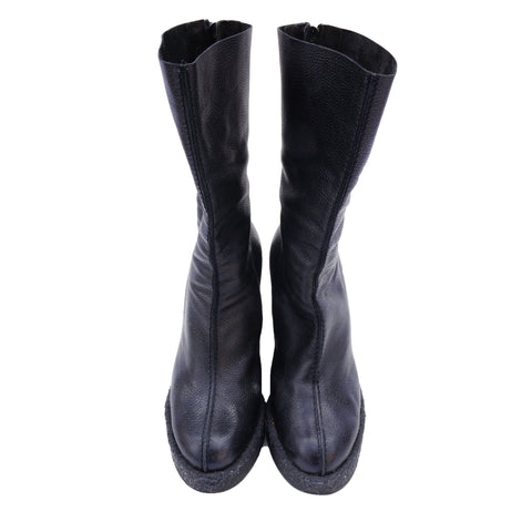 WALTER STEIGER BLACK MID-CALF LEATHER BOOTS - leefluxury.com