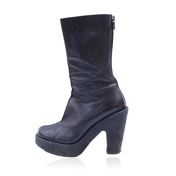 WALTER STEIGER BLACK MID-CALF LEATHER BOOTS