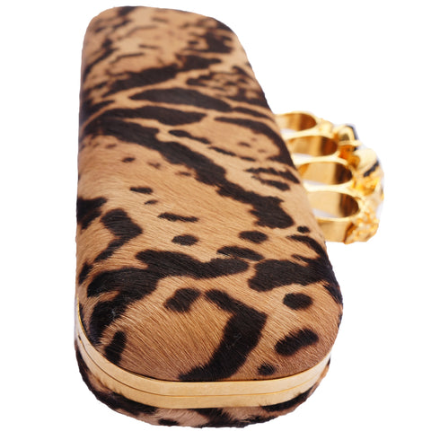 ALEXANDER MCQUEEN CALF HAIR LEOPARD KNUCKLE-DUSTER CLUTCH  Shop online the best value on authentic designer used preowned consignment on Leef Luxury.
