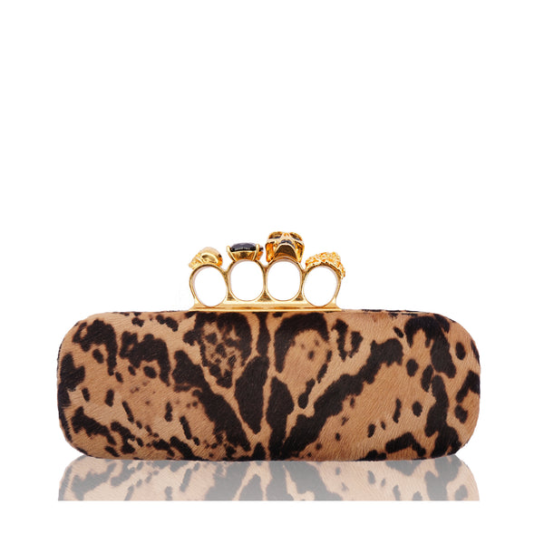 ALEXANDER MCQUEEN CALF HAIR LEOPARD KNUCKLE-DUSTER CLUTCH
