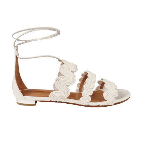AQUAZZURA JODPHUR WHITE LEATHER SANDAL - leefluxury.com
