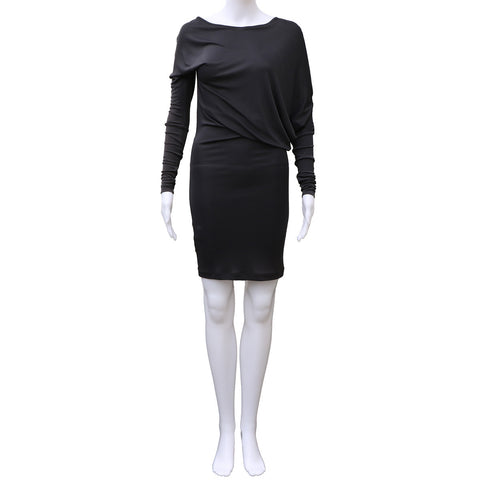 BCBG ASYMMETRICAL SLATE GREY JERSEY DRESS - leefluxury.com