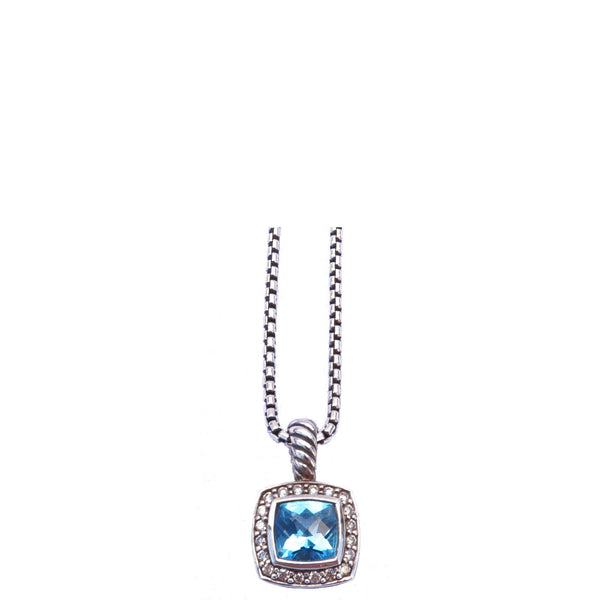 DAVID YURMAN BLUE TOPAZ & DIAMOND ALBION PENDANT NECKLACE