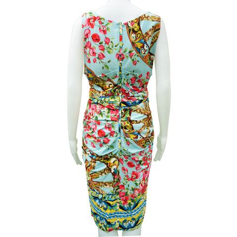 DOLCE & GABBANA ROSE PRINT RUCHED DRESS  Shop online the best value on authentic designer used preowned consignment on Leef Luxury.
