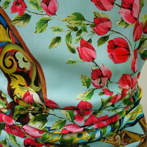 DOLCE & GABBANA ROSE PRINT RUCHED DRESS - leefluxury.com