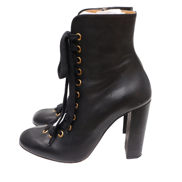 Chloé Grained Leather Ankle Lace-Up Boots