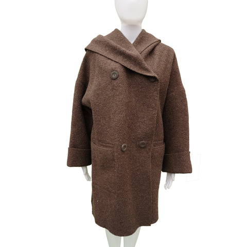 HILARY RADLEY BROWN BOILED WOOL HOODED COAT Shop online the best value on authentic designer used preowned consignment on Leef Luxury.