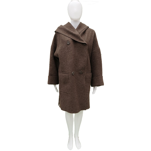 HILARY RADLEY BROWN BOILED WOOL HOODED COAT
