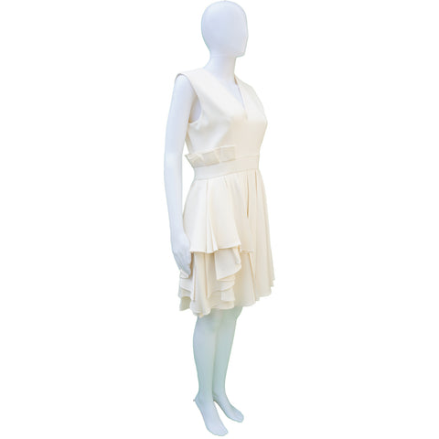 ALEXANDER MCQUEEN IVORY SLEEVELESS WOOL DRESS Shop the best value on authentic designer resale consignment on Leef Luxury.