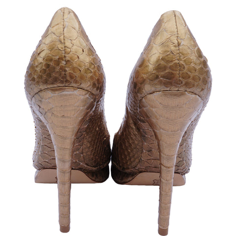 ALEXANDRE BIRMAN PYTHON PEEP-TOE PUMPS Shop the best value on authentic designer resale consignment on Leef Luxury.