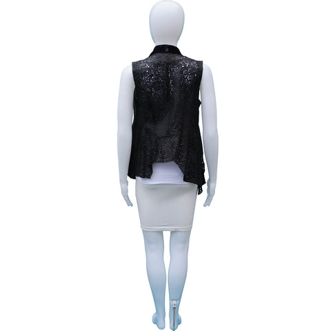 ALL SAINTS BLACK LASER CUT LEATHER VEST