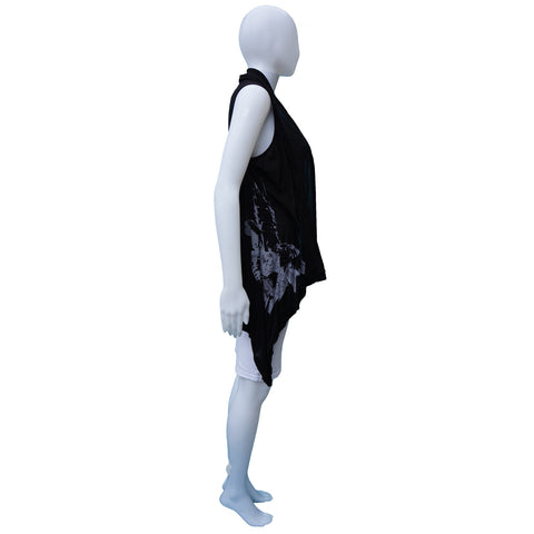 ANN DEMEULEMEESTER SCREEN PRINT OPEN FRONT SLEEVELESS VEST on Leef luxury authentic designer resale consignment